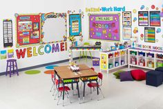 "Create a warm, welcoming feel to your classroom with the Celebrate Learning Welcome bulletin board letter set. This bulletin board display includes seven extra-large letters and an exclamation point to spell the word ""WELCOME! Preschool Classroom Setup, Classroom Wall Decor, Preschool Decor, Classroom Walls, New Classroom, Classroom Setting, Classroom Design, Classroom Themes, Toddler Classroom"
