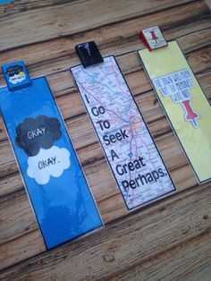 The Fault In Our Stars, Looking For Alaska and Paper Towns polymer clay book charm bookmarks on Etsy, $12.22