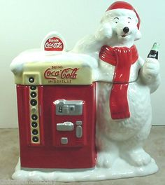 Coca-Cola Polar Bear Coke Soda Bottle Machine Collectible Ceramic Cookie Jar