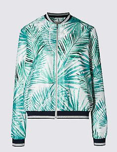 Metallic Effect Palm Print Loose Fit Bomber Jacket