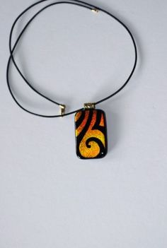 Engraved copper, gold, orange, black dichroic glass pendant necklace  | GrapevineGlassArt - Jewelry on ArtFire