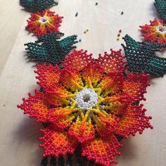 XÓCHITL beaded necklace handmade by Mexican by ArtesaniaHUICHOL