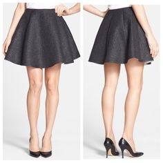 """NWT $328 Kate Spade Black Metallic Flare Skirt A high waistline and exaggerated flare complement a texturally woven skirt. The glamorous tinsel interwoven throughout adds playful sophistication and femininity to the look. •18 1/2"""" length (size 8). •Side zip closure. •On-seam pockets. •Lined. •92% polyester, 8% metallic fibers. •Dry clean. •By kate spade new york; imported. Item Location Bin D2 kate spade Skirts A-Line or Full"""