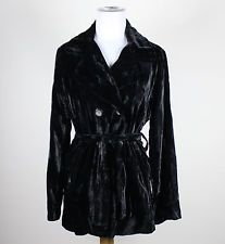 Black velvet LUCKY BRAND long sleeve double breasted belted waist jacket M