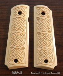 Celtic Knots Pattern Custom 1911 Pistol Grips by Jackrabbit Designs LLC, available in Hard Maple, Cherry and American Black Walnut