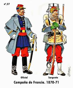 French; Foreign Legion Officer & Sergeant on campaign France 1870-71