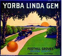 Yorba-Linda-Gem-Car-Orange-Citrus-Fruit-Crate-Label-Vintage-Art-Print