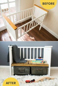Repurposed crib to upcycled bench