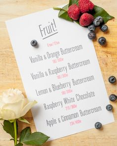 Fruity Cupcake Menu.  By Cake Me! Oslo. Email cakemeoslo@gmail.com for orders and enquiries.