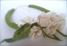 Felt necklace White Blossoms - Handmade