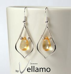 Wire wrapped sterling silver earrings with genuine citrine by byVellamo, $39.00