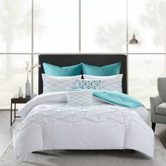 Urban Habitat Bellina Cotton Percale 7-Pc. Comforter Set - Comforter... ($320) ❤ liked on Polyvore featuring home, bed & bath, bedding, comforters, full/queen comforter, 7pc comforter set, aqua comforter, aqua comforter set and aqua blue comforter sets