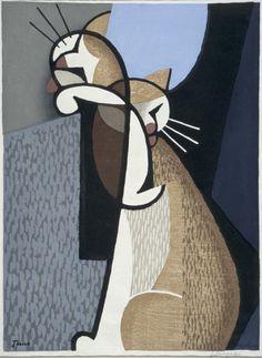 Inagaki Tomoo, Cat Making-up -Two Cats Bathing, 1955, woodblock print.