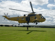 Winch training on the Sea King helicopter at RAF Chivenor.