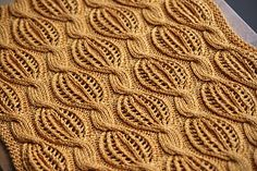 "This stitch pattern reminds me of wrapped candy. ""Golden Dreams' scarf pattern by Katya Wilsher available via Ravelry"