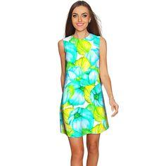 Sunny Day Adele Green Floral Shift Mini Sundress - Women