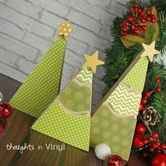 wooden Christmas Tree Trio    |  Thought in Vinyl Only $10 for the set.   Great for Super Saturday Crafts