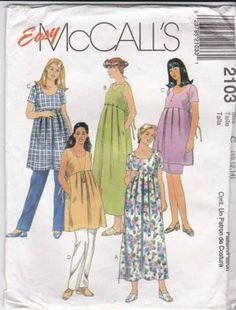 McCalls Sewing Pattern 2103 Misses Size 10-14 Easy Maternity Dress Top Skirt Pants