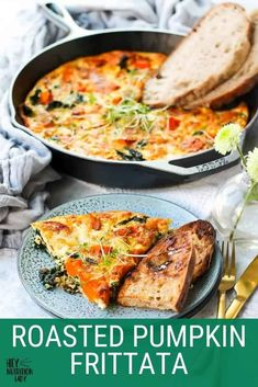 This Roasted Pumpkin Frittata is the perfect easy recipe for breakfast, lunch, or dinner. Made with kale and goat's cheese it's a perfect veggie-loaded make-ahead meal. Spicy Pumpkin Soup, Roast Pumpkin, Pumpkin Recipes, Vegetarian Comfort Food, Tasty Vegetarian Recipes, Make Ahead Meals, Easy Meals, Pumpkin Lasagna, Frittata Recipes