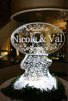 Nicole & Val Layered Monogram on Pedestal Ice Sculpture by Art Below Zero, via Flickr