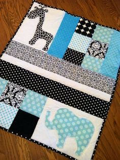 Sale Handmade Baby Quilt with Elephant Applique Ready To Ship via Etsy.