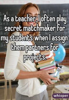 """As a teacher, I often play secret matchmaker for my students when I assign them partners for projects."""