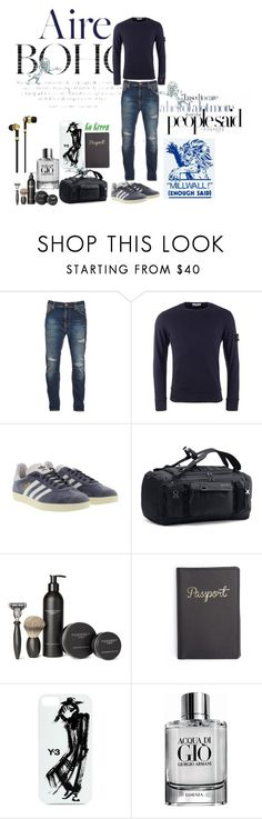"""""""Thank you, so cool!"""" by tyffanie ❤ liked on Polyvore featuring Nudie Jeans Co., STONE ISLAND, adidas, Under Armour, Pankhurst, Y-3, Giorgio Armani, Master & Dynamic, men's fashion and menswear"""