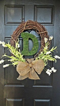 Welcome Spring, Hello Summer, Let's Get Married Wreath, With Moss covered Monogram, $44.00