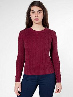 American Apparel - Women's Cable Knit Pullover - Burgundy $79.00