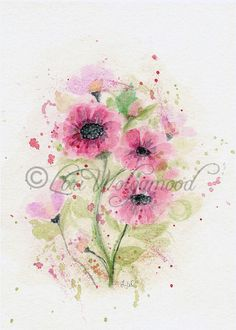 Hand+Painted+Red+Pink+Watercolor+Flowers+by+VintageNestDesigns,+$4.50