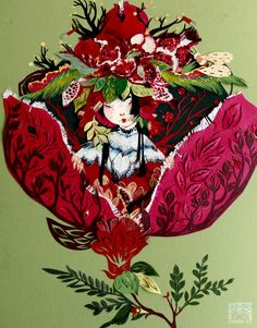 Amber Ma: paper cut pomegranate lady