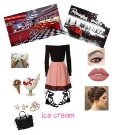 """""""Ice cream"""" by nia253 ❤ liked on Polyvore featuring interior, interiors, interior design, home, home decor, interior decorating, Kenneth Cole, Givenchy, Lime Crime and Bloomingdale's"""