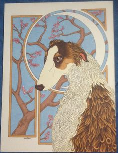 Borzoi with Cherry Blossoms by WoodsWatch on Etsy Cherry Blossoms, Cherries, Art Nouveau, Moose Art, Unique Jewelry, Handmade Gifts, Painting, Animals, Etsy