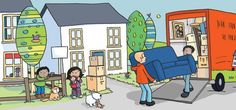 Sue King Illustration - sue king, digital, commercial, sweet, young, educational, novelty, activity, children, toddlers, boys, girls, people, moving house, home
