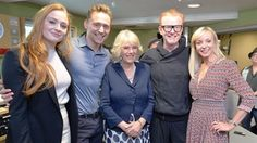 The Duchess of Cornwall (centre) with (left to right) Sophie Turner, Tom Hiddleston, Chris Evans and Helen George