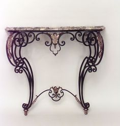 Antique French Victorian wrought iron scroll and filigree design bracket console table with marble top Iron Furniture, Iron Table, Victorian, Wrought Iron Console Table, Copper Decor, Metal Furniture, Rustic Tile, Wrought Iron Garden Gates, Filigree Design