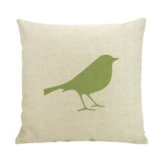 Bird pillow case  Apple green bird print on by ClassicByNature @Etsy