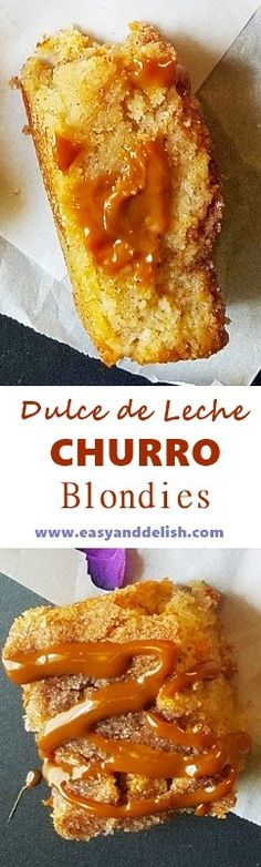 Fudgy and decadent churro blondies filled with dulce de leche that are easy to make and can be served with your favorite ice cream.