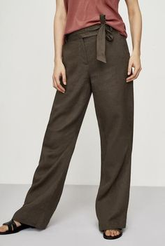 #NewYear #Long Tall Sally - #Long Tall Sally Tall Women's Pure Linen Wide Leg Pants in Chocolate - Size 6 at Long Tall Sally - AdoreWe.com