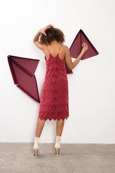 IMRECZEOVA SS18 cherry red silk layered dress 60 Degrees, Red Silk, Cherry Red, Dresses, Fashion, Vestidos, Moda, La Mode, Fasion