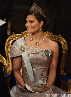 Crown Princess Victoria of Sweden wears the Napoleonic Cut Steel Tiara to the Nobel Prize Ceremony 2016 | The Court Jeweller