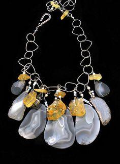 Silver, agate, citrine necklace Phyllis Clark Designs