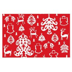 KESS InHouse Miranda Mol 'Warm Winter Red' White Dog Place Mat, 13' x 18' >>> Click image to review more details. (This is an affiliate link and I receive a commission for the sales) #PetDogs