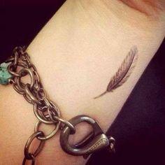 Wrist feather tattoo