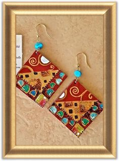 """Earrings, the collection """"Tribute"""". Hooks 925 silver gilt and semiprecious stones.Calf hand-painted"""