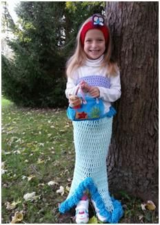 Crocheted Ariel the Mermaid Costume Free Pattern (also contains a tutorial for double crochet foundation stitch)   Tamar Knochel