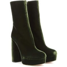 Miu Miu Velvet Ankle Boots ($1,055) ❤ liked on Polyvore featuring shoes, boots, ankle booties, ankle boot, botas, heels, green, green booties, miu miu bootie and velvet boots