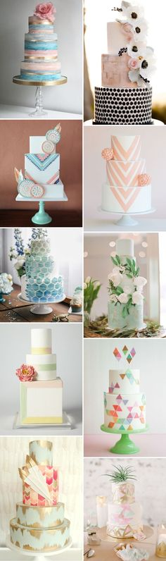 modern pastel wedding cakes I best day ever creative events blog I #bdeblog