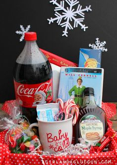 elf basket gift *elf movie or elf soundtrack *coca cola *candy corn *spaghetti *jelly beans *candy canes *syrup *candy *etch a sketch *lite brite *how to cut snowflake book