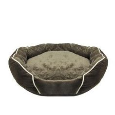 Soft Dark Brown Faux Fur Self Heating Plush Dog Bed Sleeper Lounge - Small